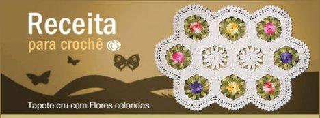 Tapete Crú com Flores Coloridas