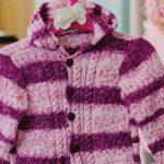 Blusa de Tricô Rosa e Lilás com Capuz - Fio Bebê Fashion