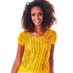 Blusa de Crochê Amarela - Linha Charme
