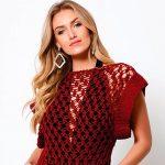 Blusa de Crochê Bambu - Fio Bella Fashion
