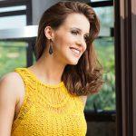 Cropped de Crochê Amarelo Ponto Régua - Linha Camila Fashion