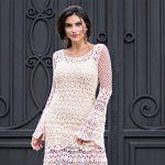 Vestido bege evasê de Crochê - Linha Mirella