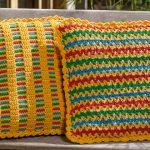 Receita Almofada de Crochê com Ponto V Colorida