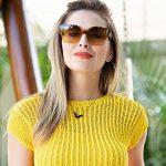 Receia Blusa de Tricô Amarela com Fio Cisne Splash