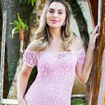 Receita Vestido de Tricô Longo Rosa com Linha Camila Fashion