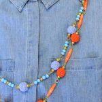 Receita Colar Duplo Laranja e Azul com Bolas de Crochê com Linha Camila Fashion