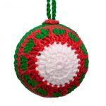 Enfeite de Crochê Bola Tricolor Natalino com Fio Amigurumi