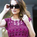 Blusa de Crochê Grampo com Camila Fashion