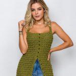 Vestido de Crochê Aberto Militar - Linha Anne