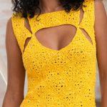 Blusa de Crochê Amarela com Camila Fashion
