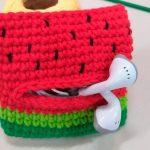 Amigurumi Porta Fone de Ouvido Melancia com Fio Amigurumi Soft
