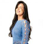 Receita Blusa de Crochê Acinturada Plus Size Azul com Linha Camila Fashion