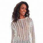 Blusa de Crochê Off-White com Linha Queen