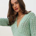 Vestido de Crochê Verde Menta com Fio Cisne Chic