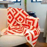 Manta de Crochê Natural Losangos