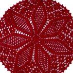 Centro de Mesa Vermelho de Crochê com Linha Camila Mais